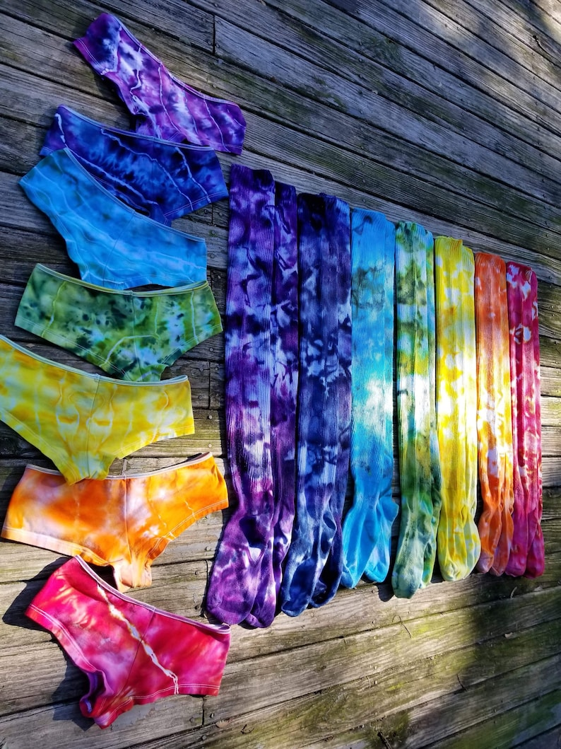 Made to Order Funky Tie Dye Chakra Thigh Highs and Panty Set