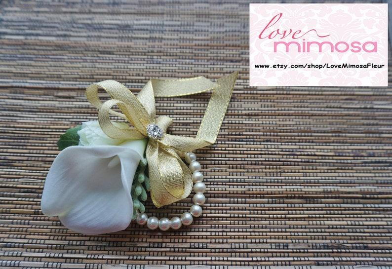 Ivory Calla Lily and Gold Glitter Ribbon Corsage Wrist Corsage