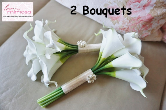 Two Small Ivory Calla Lily Bridesmaid Bouquet Flower Girl Etsy