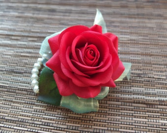 Wrist Corsage, Red rose and green organza on pearl bracelet