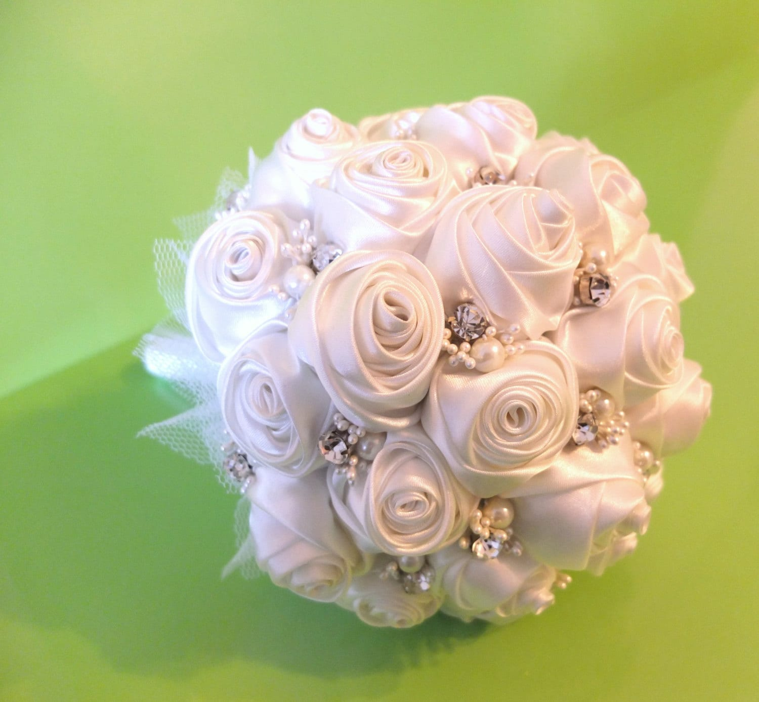 Handmade ribbon rose bouquet off white rose accented with etsy handmade ribbon rose bouquet off white rose accented with rhinestone izmirmasajfo