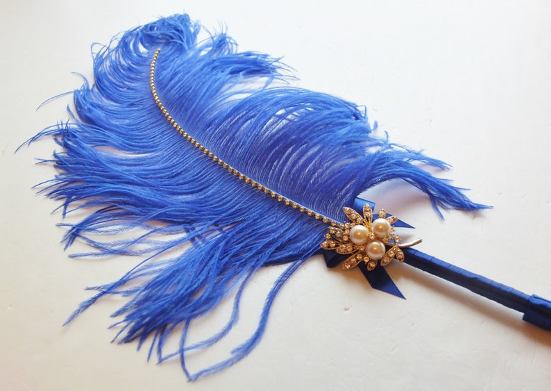 96c4288cf63c2 Large Elegant Royal Blue Feather Pen with Gold Pearl Brooch / Wedding  Signing Pen / Guest Book Pen / Wedding Reception Accessories
