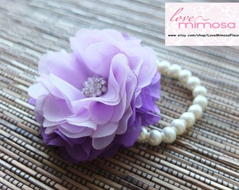 Wrist Corsage, Purple and Lavender Chiffon Corsage, bridesmaid Corsage
