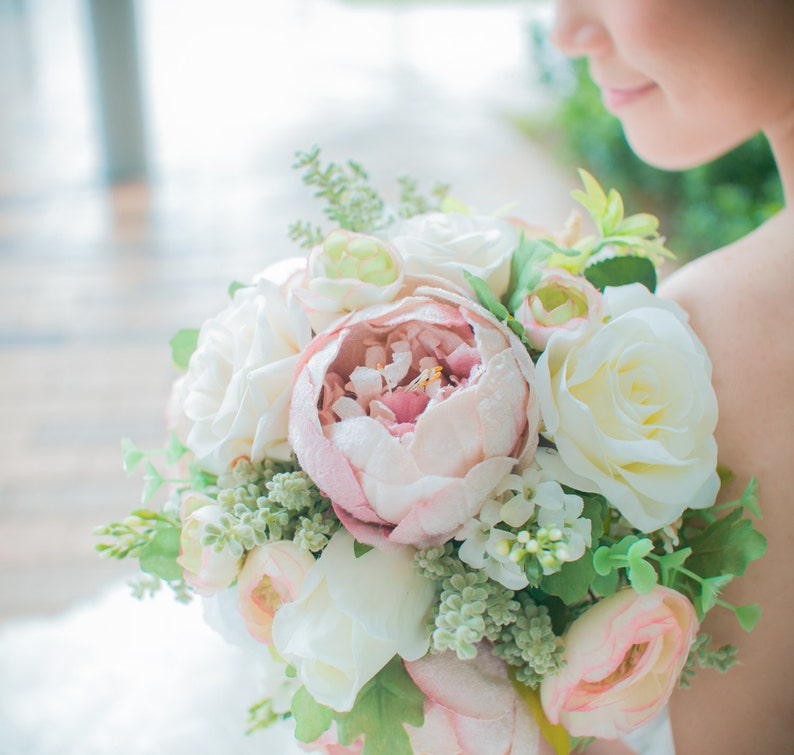 Bridal Bouquet White and Antique Pink Peonies /& Roses wedding bouquet