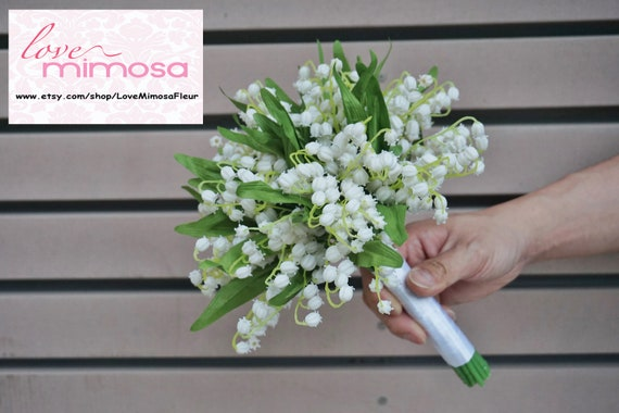 bridal bouquet Lily of the valley bouquet vine,Bridal Hair Vine flowers lily of the valley Bridesmaids hair comb