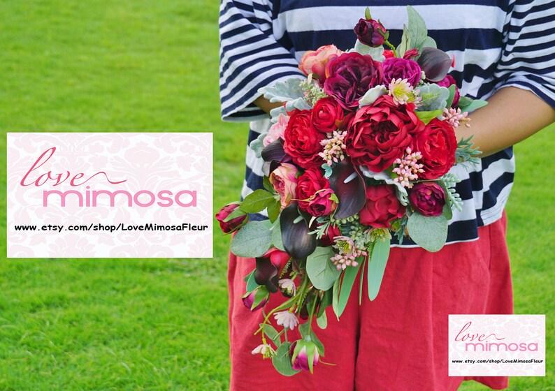 Bridal Bouquet bohemian bouquets Red Cascade Garden Rose and Calla Lily Bridal Bouquet