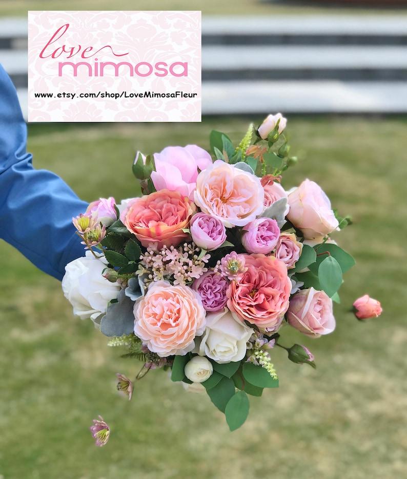 b44829662977 Bridal Bouquet pesca e Rosa Garden Rose Bouquet da sposa