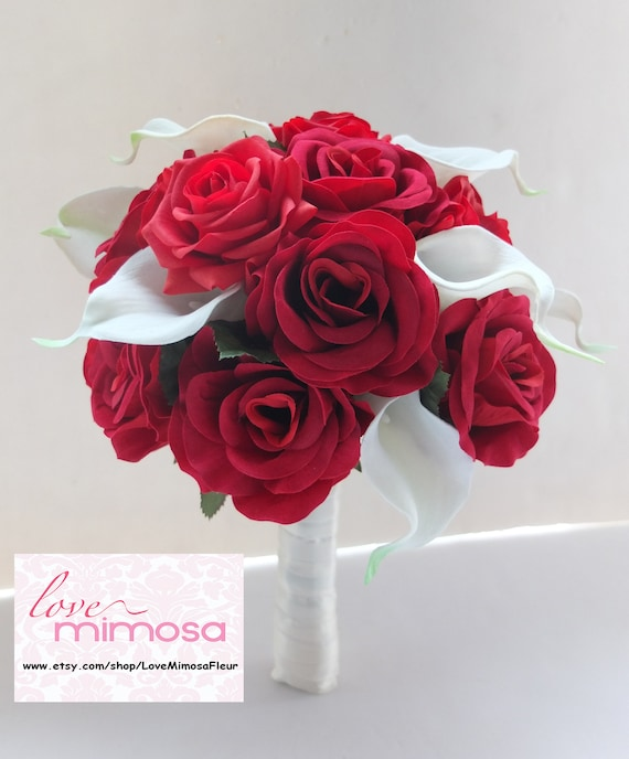 Wedding Bouquet Red Rose And White Calla Lilies Bridal Etsy