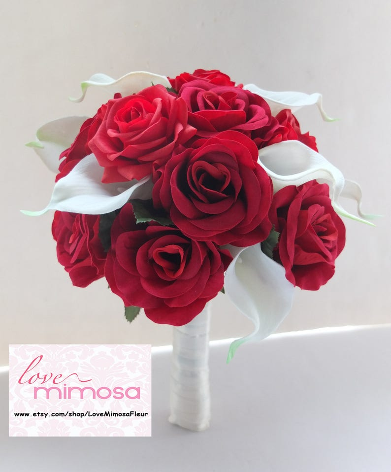 Red Roses Wedding Bouquets.Wedding Bouquet Red Rose And White Calla Lilies Bridal Bouquet