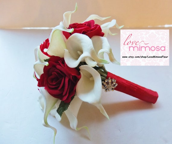 Bridal Bouquet White Calla Lily And Red Roses Bridesmaid Etsy