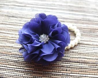 Wrist Corsage, Chiffon Flower Corsage (Purple), Purple bridal Corsage, Chiffon Rose corsage