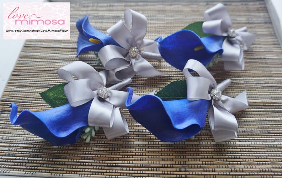 Royal Blue and White Calla Lily with White Ribbon Boutonniere Men/'s Boutonniere