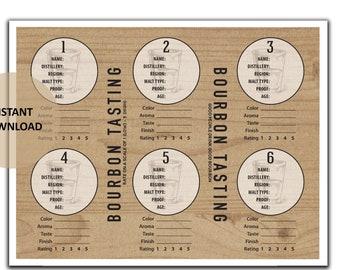 Bourbon Tasting Mat for Flight of 6 - Bourbon Tasting Party - Bourbon Tasting -Bourbon Rating -Bourbon Scorecards - Bourbon Notes -Printable
