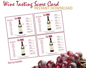 Wine Tasting - Wine Party - Wine Bridal Shower - Wine - Wine & Cheese - Rating - Scoring - Tasting - Party