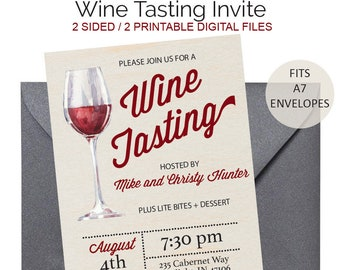 Classic Wine Tasting Invitation - Wine Tasting Invite - Wine Tasting Party - Wine Invitation - Wine Bridal Shower- Winery Party - Printable