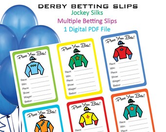 Kentucky Derby Betting Slips - Derby - Preakness - Belmont Stakes - Jockey Silk - Betting Game  - Betting Cards - Betting Slips - Printable