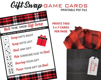 Christmas Gift Exchange Dice Game Printable.Gift Exchange Game Etsy
