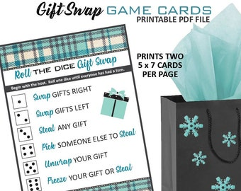Christmas Gift Exchange Dice Game Printable.Christmas Gift Exchange Game Sign Holiday Gift Exchange Dice