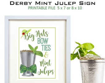 Kentucky Derby Sign - Kentucky Derby Party - Derby Party - Derby - Bar Sign - Mint Julep Bar - Sign - Derby Hat - Bow Tie - 2 Sign Sizes