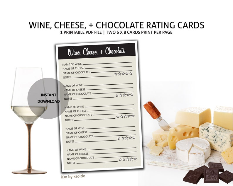 Wine Cheese and Chocolate Rating Cards Wine and Cheese Tasting Wine Cheese and Chocolate Tasting Wine and Chocolate Tasting -Printable