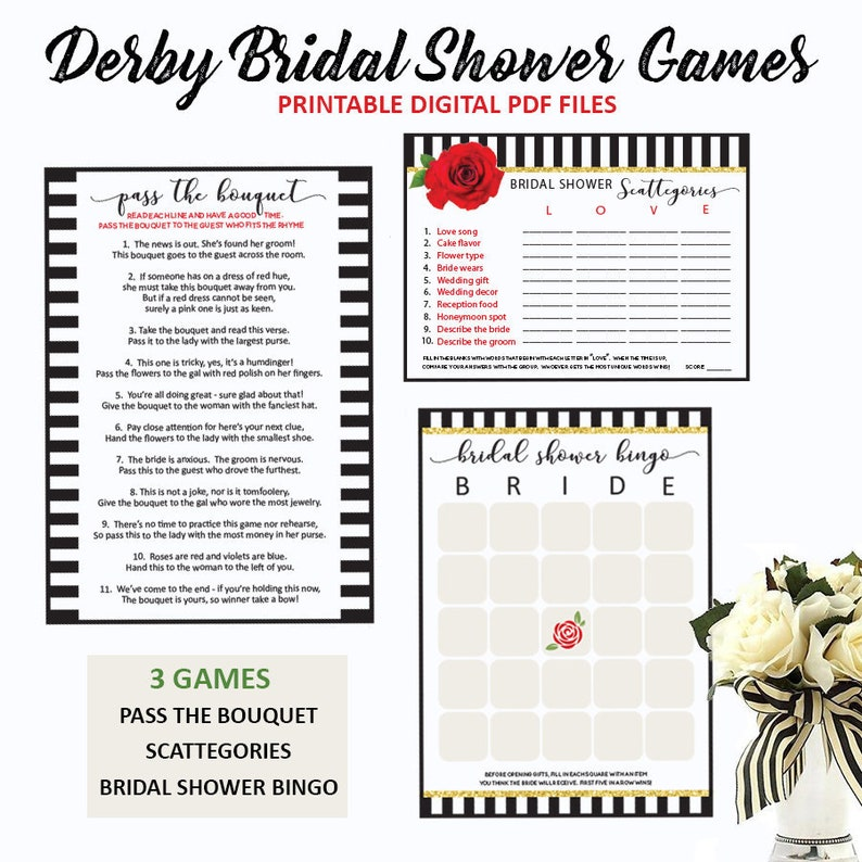 image relating to Kentucky Derby Games Printable known as Kentucky Derby Bridal Shower Online games -Derby Bridal Shower -Scattegories -Bridal Shower Bingo -Backyard garden Bridal Shower -Printable-Prompt Down load