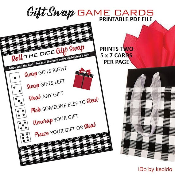 Christmas Gift Exchange Dice Game Printable.Buffalo Plaid Gift Exchange Game Christmas Ornament Exchange Christmas Gift Swap White Elephant Gift Exchange Printable Game Swap