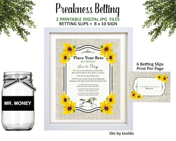 Preakness Stakes Betting Game - Preakness Stakes Party - Preakness -  Betting Cards - Betting Slips - Betting Sign - Betting - Printable