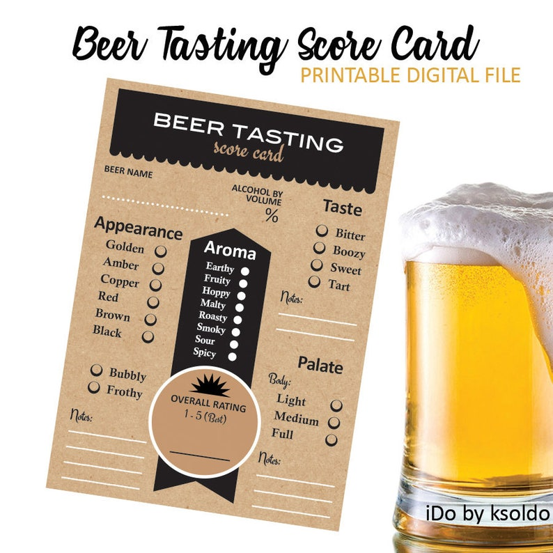 Beer Bash -Beer Notes Beer Rating Beer Scoring Cheers and Beers Beer Rating Sheet Beer Scorecard Beer Tasting Beer Score Card
