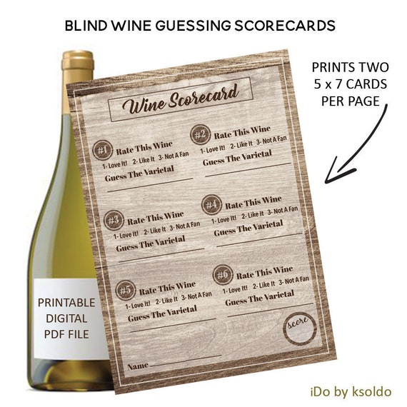 Blind Wine Tasting Score Cards Rating
