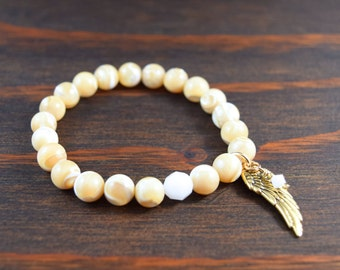 Mother of Pearl Bracelet. Angel Wing Bracelet. Women's Beaded Bracelet. Mala Beads. Yoga Bracelet. Guardian Angel. Lotus & Lava Bracelet.