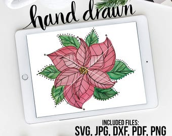 Poinsettia SVG, Watercolor Vector, Christmas Vector, Watercolor Floral, Christmas Clipart, Poinsettia Clipart, Holiday Clipart