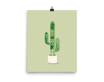 Olive Cactus Art Print - Watercolor Painting Art Print   Design by LZ Cathcart   Giclée Printing Quality   Paper Print   Plant Painting