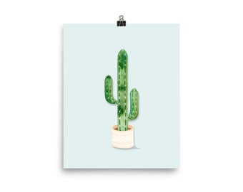 Potted Cactus Art Print - Watercolor Painting Art Print   Design by LZ Cathcart   Giclée Printing Quality   Paper Print   Plant Painting