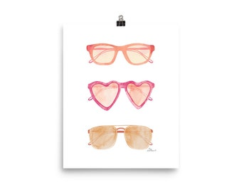 Sunglasses - Watercolor Painting Art Print   Design by LZ Cathcart   Giclée Printing Quality   Paper Print   Summer Painting