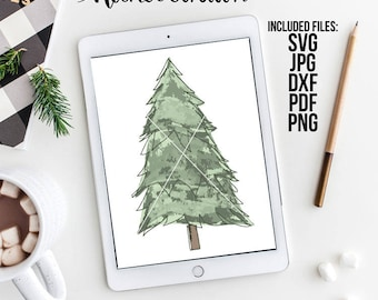 Christmas Tree SVG, Watercolor Vector, Christmas Vector, Watercolor Clipart, Christmas Clipart, Tree Clipart, Holiday Clipart