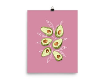 Avocados - Watercolor Painting Art Print   Design by LZ Cathcart   Giclée Printing Quality   Paper Print   Food Painting