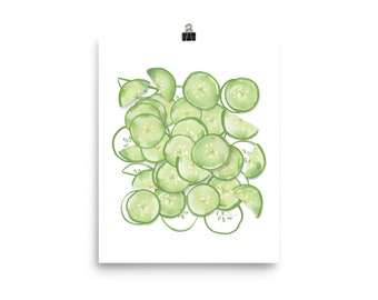 Cucumbers - Watercolor Painting Art Print   Design by LZ Cathcart   Giclée Printing Quality   Paper Print   Summer Painting