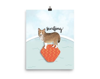 Kate the Spunky Sheltie Surfing Art Print   Design by LZ Cathcart   Giclée Printing Quality   Paper Print   Dog Painting