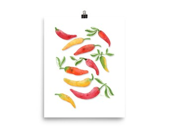 Banana Peppers - Watercolor Painting Art Print   Design by LZ Cathcart   Giclée Printing Quality   Paper Print   Food Painting