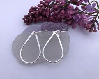 Hammered Large Silver Tear Drop Earrings, Sea Drop, Sterling Silver and Fine Silver(99.9% silver), Dress-up Earrings, Gift for Woman, Wife..
