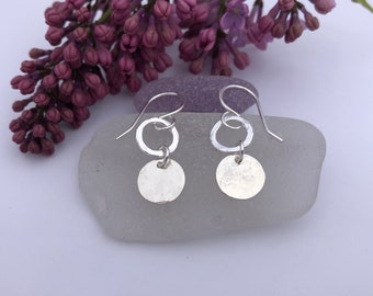 Sterling Silver Circles and Disc Dangle Earrings, Lightweight, Everyday Wear, Hammered Silver, Gift for Mom, Daughter, Sister, Grandmother..