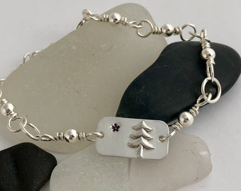 Sterling Silver 1901 Maine State Flag Bracelet, Maine's First Flag, Lone Pine Tree and Star, Simple yet Elegant, Maine Pride, Mainer's Love