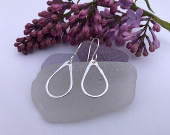 Silver Tear Drop Earrings, Sterling Silver & Fine Silver, Everyday Lightweight Earrings, Simply Modern, Gift for Woman, Wife, Daughter, Teen