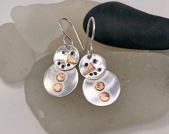 Snowman Earrings, Sterling Silver, Cutest Snowmen Ever!!!, Winter Earrings, Holiday Earrings, Snow Earrings, Frosty Earrings, Snowman Lover