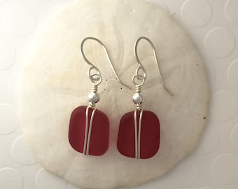 Sterling Silver and Red Sea Glass Earrings, wire wrapped, beach glass, Christmas earrings, Valentine earrings, dangle