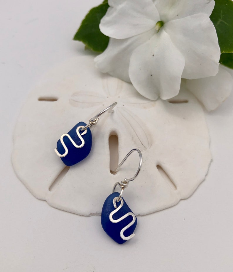 Short-Light-Weight Dangle Light and Easy Sterling Silver and Dark Blue Sea Glass Petite.. ZigZag Dangles a Top the Cobalt Beach Glass