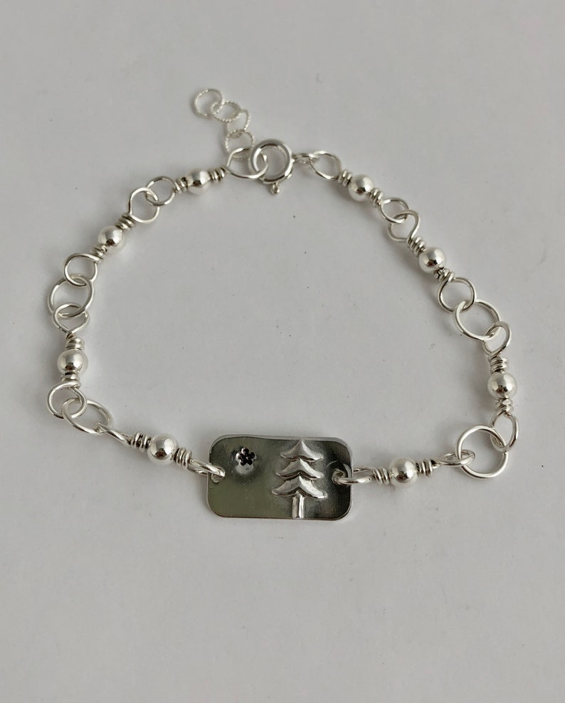 Sterling Silver 1901 Maine State Flag Bracelet Mainer/'s Love Lone Pine Tree and Star Maine/'s First Flag Simple yet Elegant Maine Pride