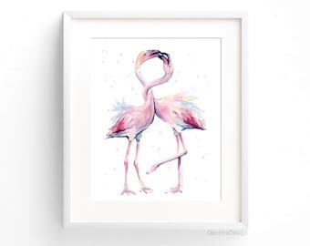 Two Flamingos Art Print Pink Flamingo Watercolor Art Flamingo Wall Art Flamingo Decor Pink Flamingo Watercolor Tropical Whimsical Birds