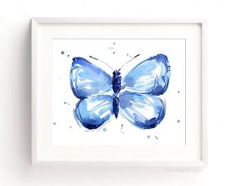 Blue Butterfly Wall Art Watercolor Art Print Butterfly Print Blue Butterfly Painting Butterfly Abstract Butterflies Giclee Art Print