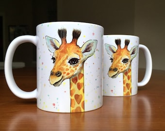 Giraffe Mug Animal Mug Giraffe Ceramic Mug, Animal Ceramic Mug, Baby Gift, Nursery Art, Baby Animals, Whimsical Animal Gift, Safari Nursery